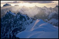 Alpinists on the Aiguille du Midi ridge. Alps, France (color)
