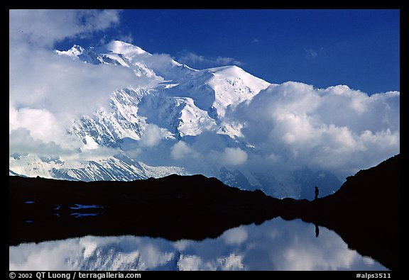 Hiker in the Aiguilles Rouges and Mont-Blanc range, Alps, France.  (color)