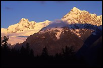 Aiguille des Glaciers at sunrise, Mont-Blanc range. (color)