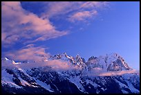 Grandes Jorasses and aretes de Rochefort seen from the Val Veny at sunrise, Alps, Italy. (color)