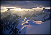 Aiguilles de Chamonix, Courtes-Verte ridge, and Grandes Jorasses seen from Aiguille du Midi. Alps, France