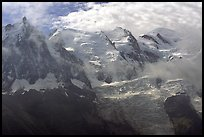 Aiguille du Midi, Tacul, Mt Maudit, and Mt Blanc, Alps, France.