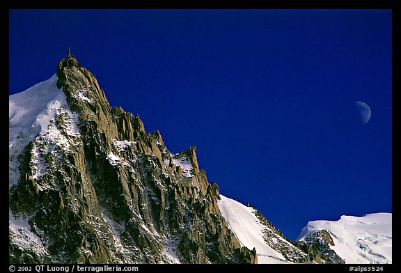 Aiguille du Midi and moon. Alps, France