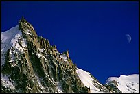 Aiguille du Midi and moon. Alps, France (color)