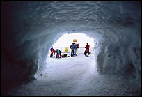 Ice tunnel leading to the ridge exiting Aiguille du Midi. Alps, France