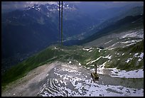 Cable car to Aiguille du Midi, Chamonix Valley in below.