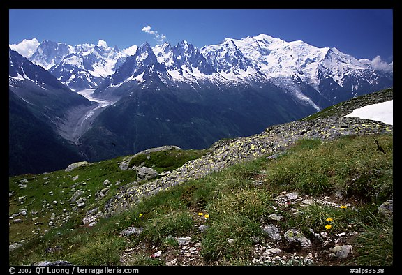 Mont Blanc range seen from the Aiguilles routes, Alps, France.