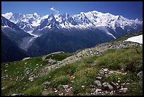 Mont Blanc range seen from the Aiguilles routes, French Alps