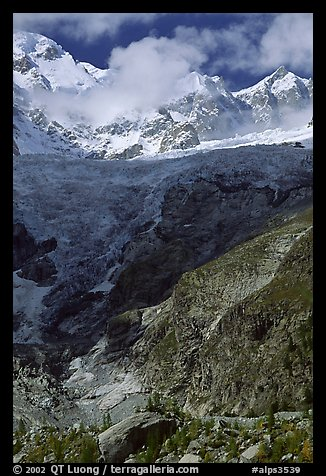 Looking up the Brenva Glacier,  Mont-Blanc range, Alps, Italy.  (color)