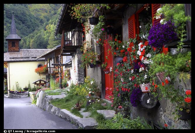 Quaint village of Le Tour, Chamonix Valley, Alps, France.  (color)