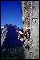 Valerio Folco getting ready to lead a pitch. El Capitan, Yosemite, California (color)