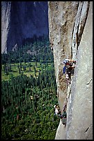 Valerio Folco leaving  the belay. El Capitan, Yosemite, California