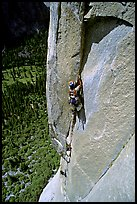 Valerio Folco leading the third pitch. El Capitan, Yosemite, California