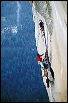 Tom McMillan leaves the belay on the last pitch. El Capitan, Yosemite, California (color)