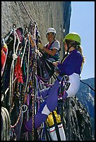 Crowded belay. El Capitan, Yosemite, California (color)