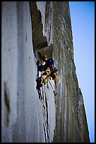 Climbing Zodiac in the shade. El Capitan, Yosemite, California (color)