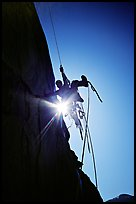 Climbing Zodiac in the sun. El Capitan, Yosemite, California (color)