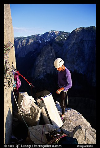 The first night is spent rather comfortably on Dolt Tower. El Capitan, Yosemite, California (color)