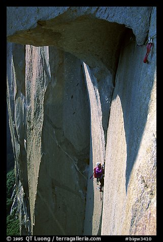 The roof pitch, easier than it looks. El Capitan, Yosemite, California (color)