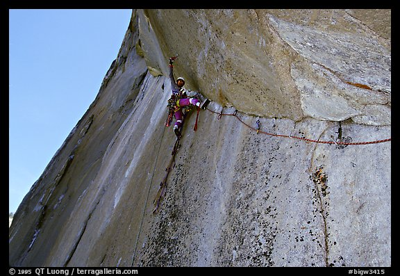 On lead on the Traverse pitch. El Capitan, Yosemite, California