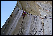 On lead on the Traverse pitch. El Capitan, Yosemite, California (color)
