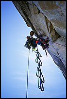 Leading the Shield slab, still overhanging. El Capitan, Yosemite, California