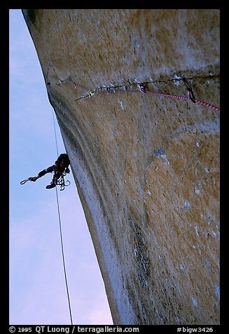 Next morning on the free-hanging line. El Capitan, Yosemite, California (color)