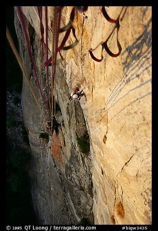 Finishing the second pitch at sunset. Leaning Tower, Yosemite, California (color)