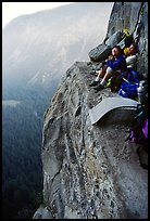 Relaxing the next morning at Awanhnee ledge. Leaning Tower, Yosemite, California