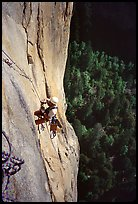 The two next traversing pitches beeing cleaned. Leaning Tower, Yosemite, California (color)