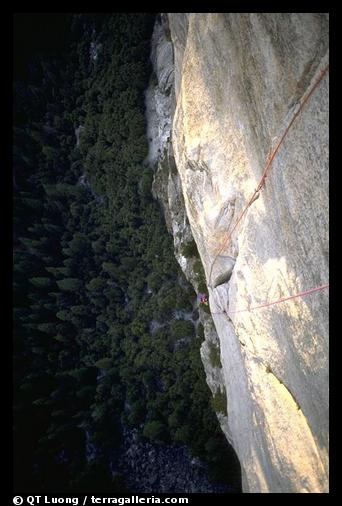 The South Face: Frank on the nut pitch. Washington Column, Yosemite, California (color)