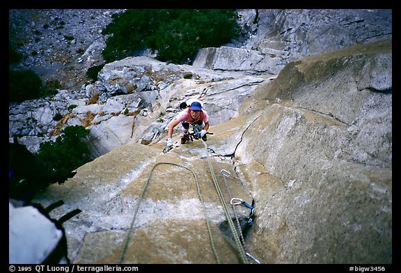 Climbing to Anchorage ledge. Washington Column, Yosemite, California (color)