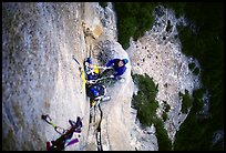 Belaying from Anchorage ledge. Washington Column, Yosemite, California (color)