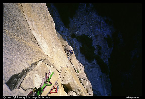 Belaying from Anchorage ledge. Washington Column, Yosemite, California