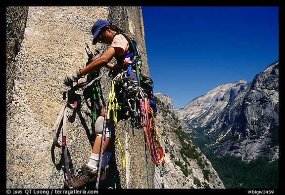 Leading the long 6th pitch. Washington Column, Yosemite, California (color)
