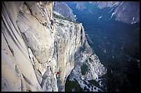 Tom McMillan and Valerio Folco on the last pitch. El Capitan, Yosemite, California (color)