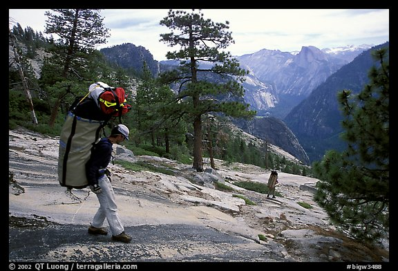 Going down the east ledges. El Capitan, Yosemite, California (color)