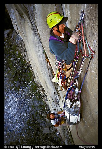 Traffic jam on the fixed pitches. El Capitan, Yosemite, California (color)