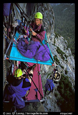 Crowded portaledge camp. El Capitan, Yosemite, California (color)