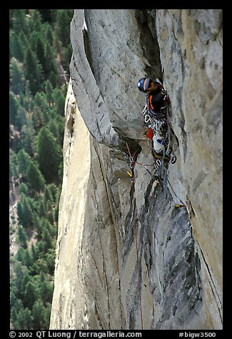 Valerio Folco leads the long and complex crux pitch, taking more than half a day. El Capitan, Yosemite, California (color)
