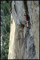 Valerio Folco leads the long and complex crux pitch, taking more than half a day. El Capitan, Yosemite, California