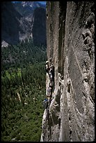 Belay on the third pitch of Mescalito, El Capitan. Yosemite, California (color)