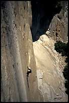 Ascending a fixed rope on  Mescalito, El Capitan. Yosemite, California