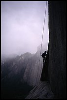 During a stormy day on an attempt  on  Mescalito, El Capitan. Yosemite, California