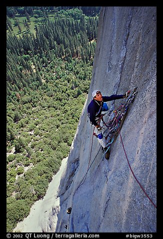 Valerio Folco takes a break from hauling bags. El Capitan, Yosemite, California (color)