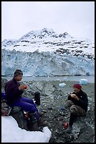 Eating breakfast in front of Lamplugh Glacier. Glacier Bay National Park, Alaska