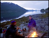 Campfire in Charpentier Inlet. Glacier Bay National Park, Alaska