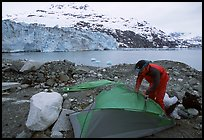 Setting up a tent in front of Lamplugh Glacier. Glacier Bay National Park, Alaska