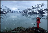Photographing John Hopkins Inlet. Glacier Bay National Park, Alaska (color)
