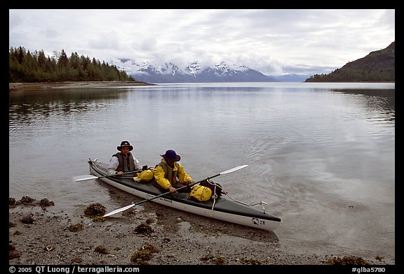 Kayakers land in Hugh Miller Inlet. Glacier Bay National Park, Alaska